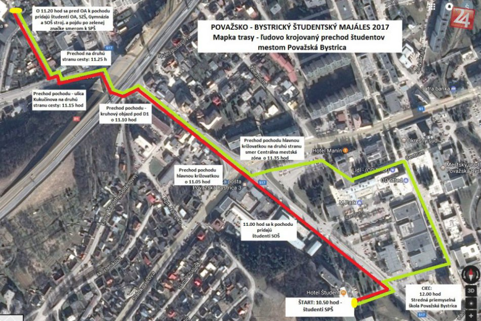 Študentský majáles v Považskej: Plán krojovaného prechodu mestom