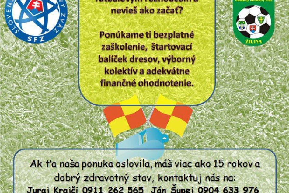 Oblastný futbalový zväz Žilina hľadá rozhodcov