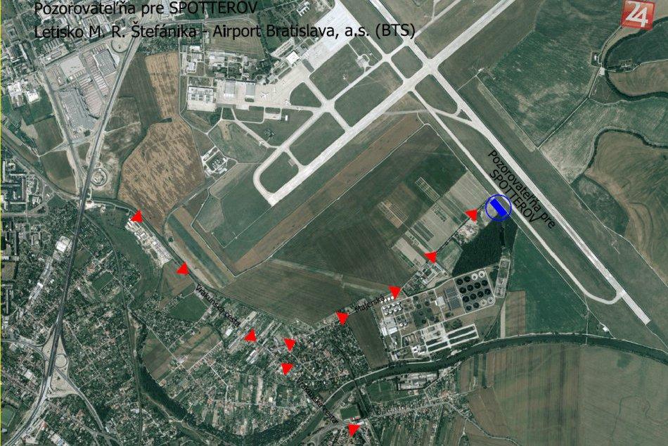 Pozorovateľňa lietadiel na letisku
