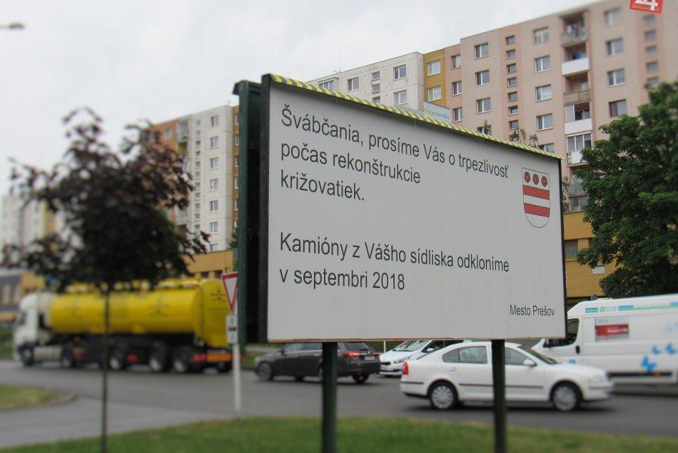 Bilboard pre vodičov v Prešove: Na Šváboch mesto prosí o trpezlivosť
