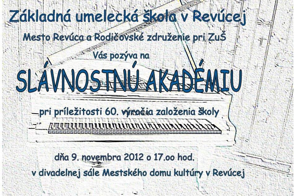 Pozvánka na slávnostnú akadémiu ZUŠ Revúca