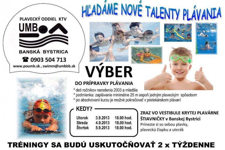 plavecký oddiel UMB - hľadanie talentov