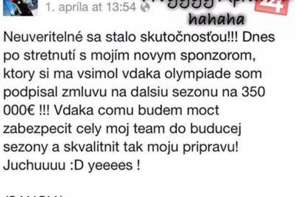 Aprílový žart zjazdára Adama Žampu: Na Facebooku nachytal desaťtisíce ľudí!