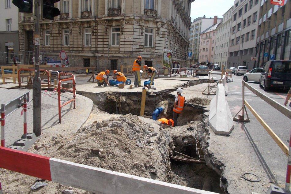 Stavebné práce na Štúrovej ulici