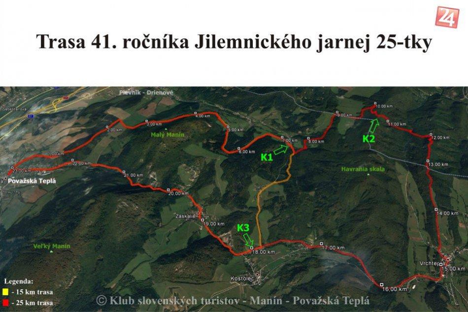 Jilemnického jarná 25-tka: Trasa 41. ročníka podujatia