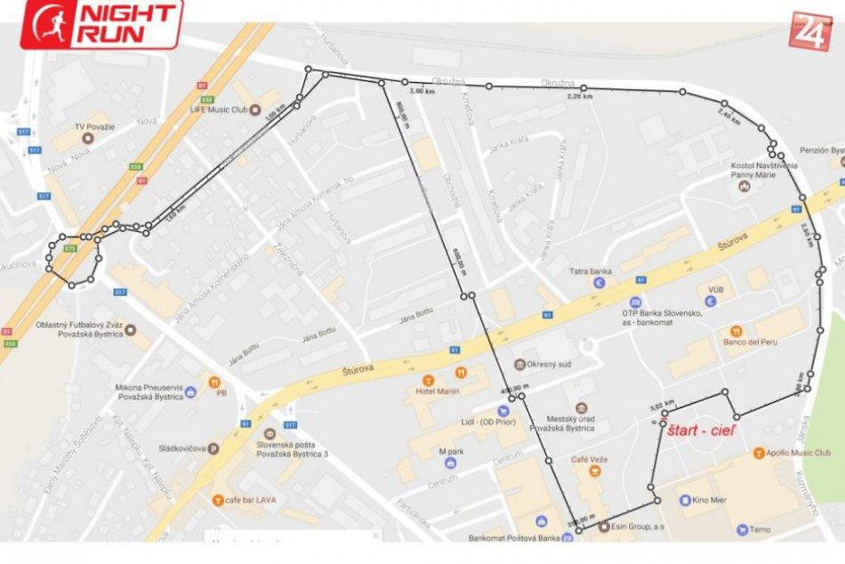 Nočný beh Považskou Bystricou: Trate VEREDA night run 2017