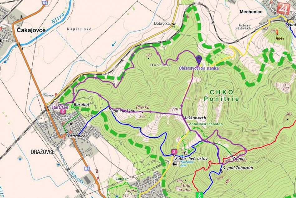 MAPA: Beh Zoborskou lesostepou