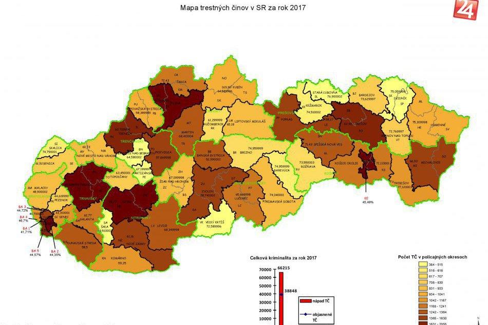 Obrazom: Mapy kriminality 2017