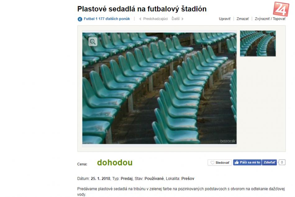 FOTO: Vedeli ste? Cez inzeráty predávajú časti prešovského futbalového štadióna