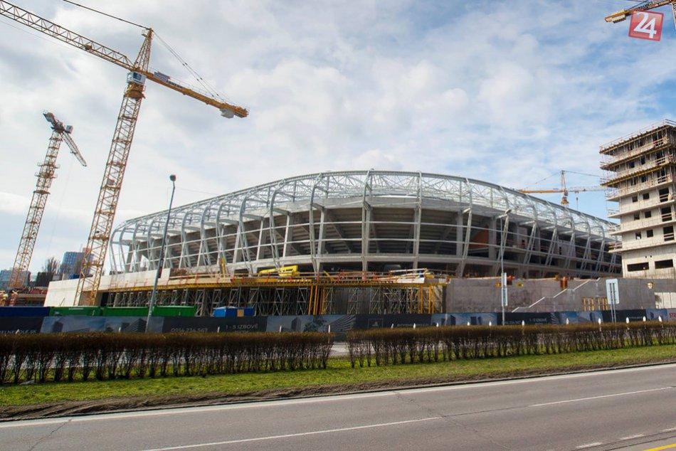 Výstavba Národného futbalového štadióna na Tehelnom poli (marec 2018)