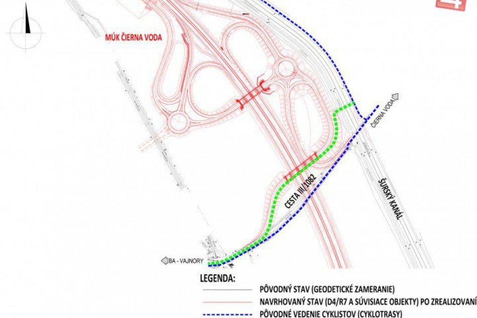 Prehľadné mapy cyklotrás - výstavba obchvatu D4R7