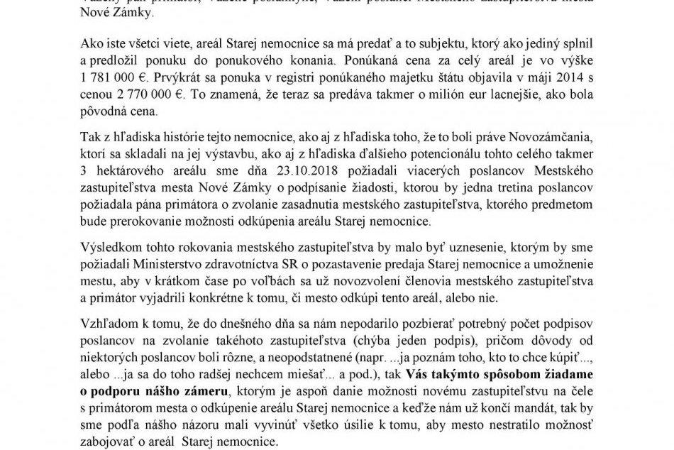 Otvorený list primátorovi Nových Zámkov