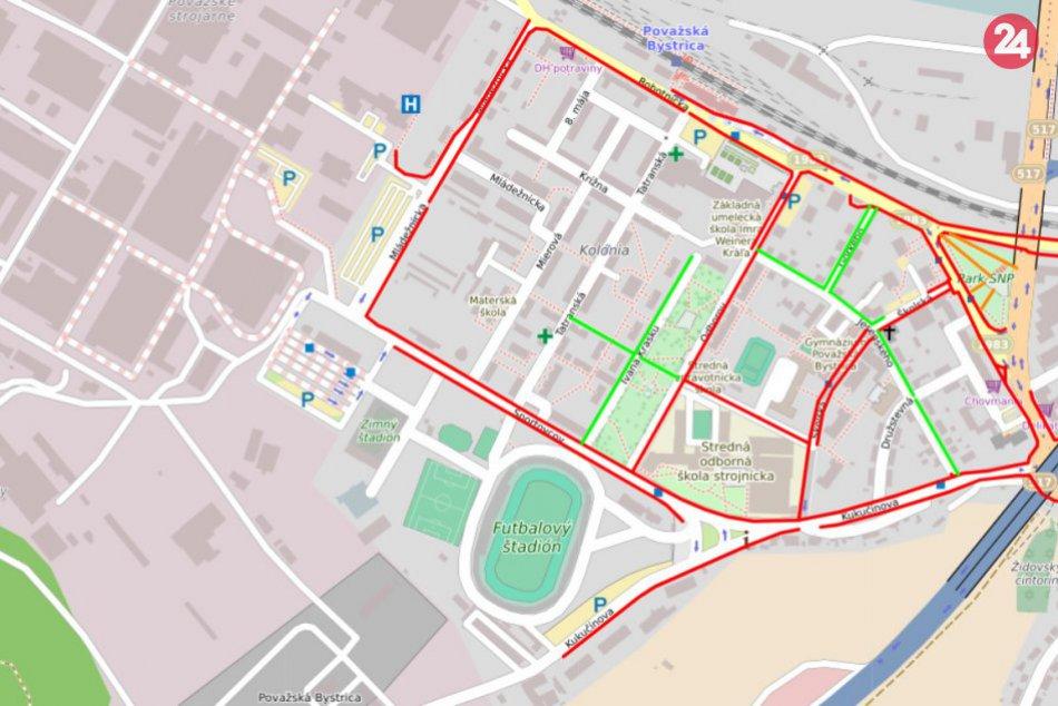 Mapa zimnej údržby chodníkov v meste Považská Bystrica: Ako je to pri vás?