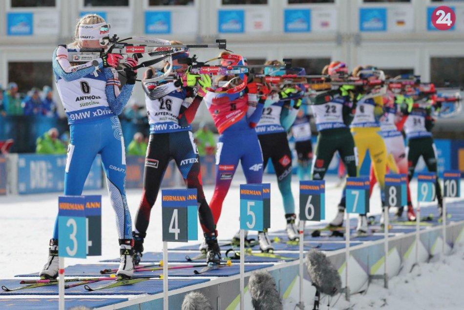 V OBRAZOCH: Biatlonistky počas preteku s hromadným štartom na 12,5 km v Antersel
