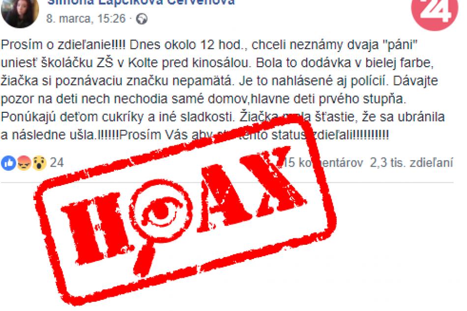 Polícia vyvracia hoax o dodávke unášajúcej deti