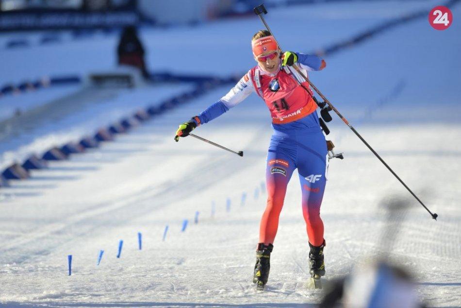 Anastasia Kuzminová a Paulína Fialková počas 9. finálového kola SP v biatlone