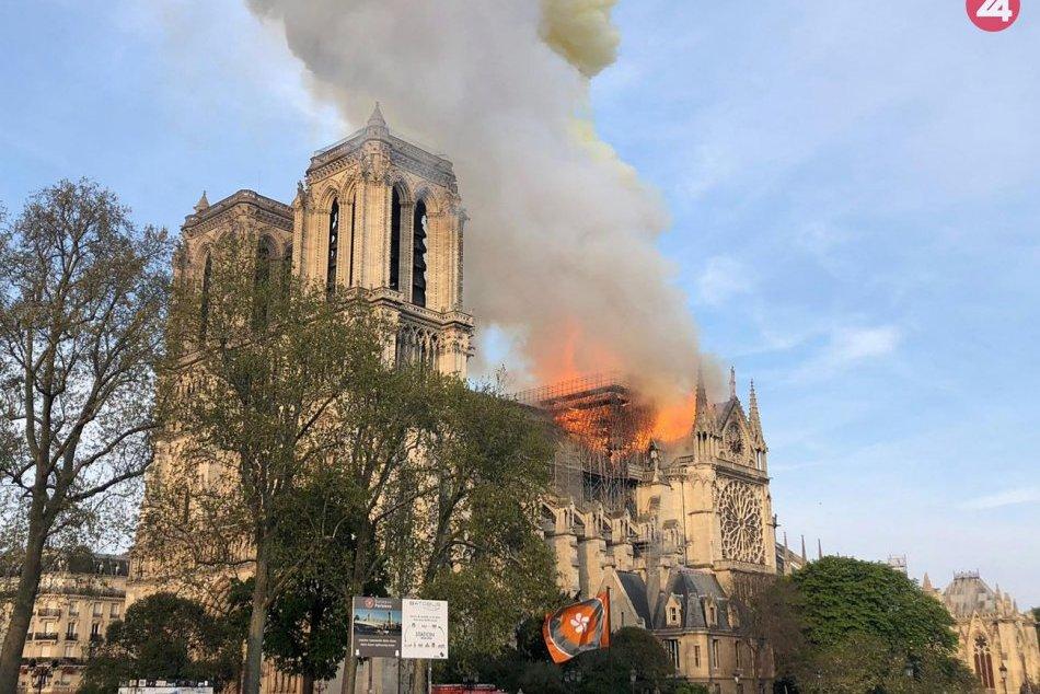 Katedrálu Notre-Dame pohltili plamene