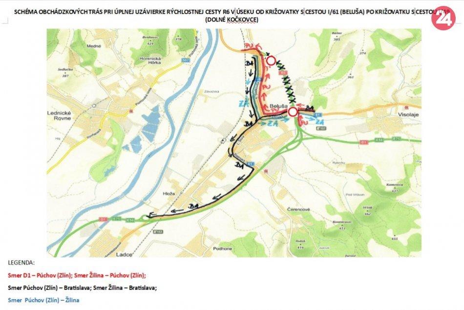 R6 Beluša - Dolné Kočkovce sa uzatvára: Toto sú obchádzkové trasy na BA, ZA a PU