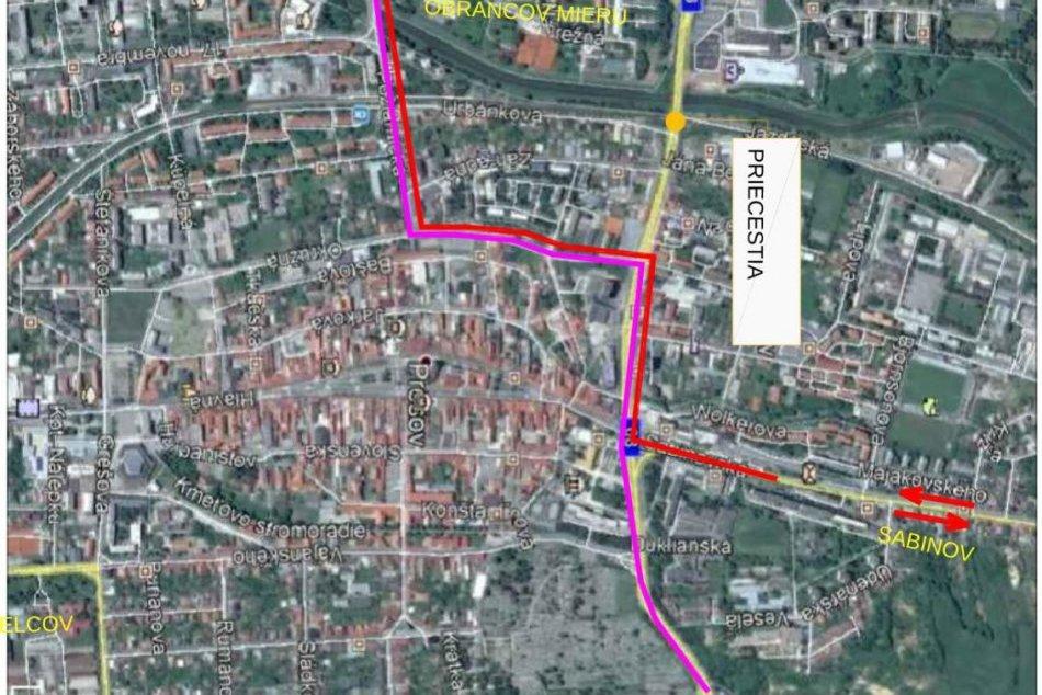 Mapka trás mesta Prešov: Začiatkom júla dôjde k úplnej uzávierke Levočskej