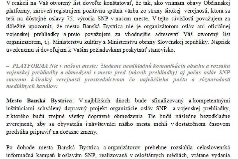 Odpoveď primátora Noska na otvorený list k pripravovanej vojenskej prehliadke