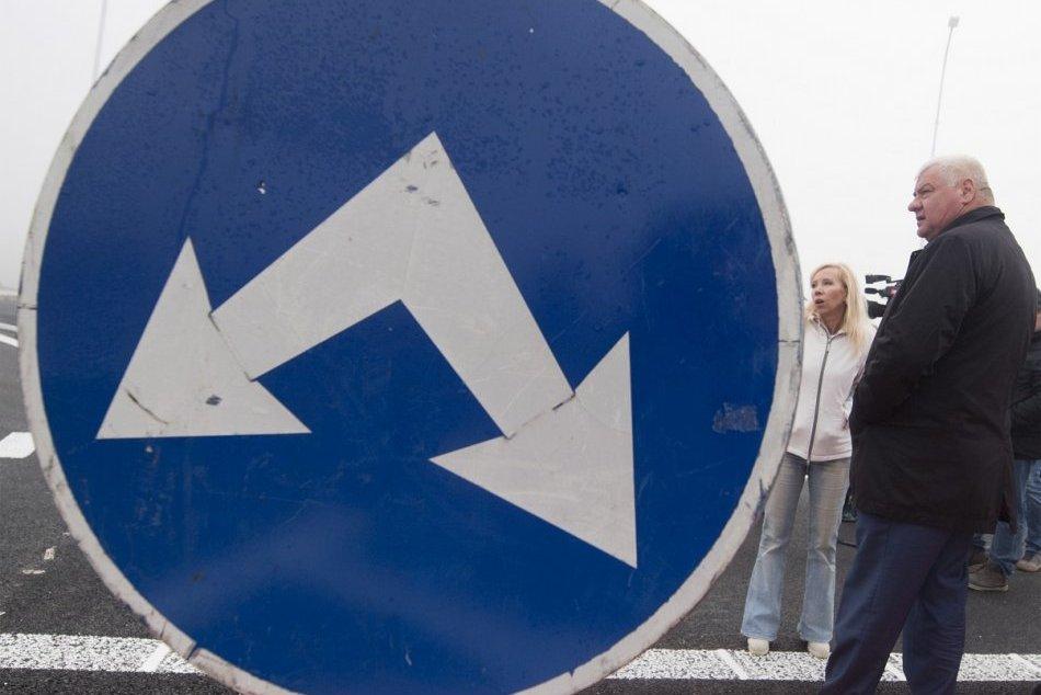Novovybudovaná križovatka Dunajská Lužná smer Šamorín
