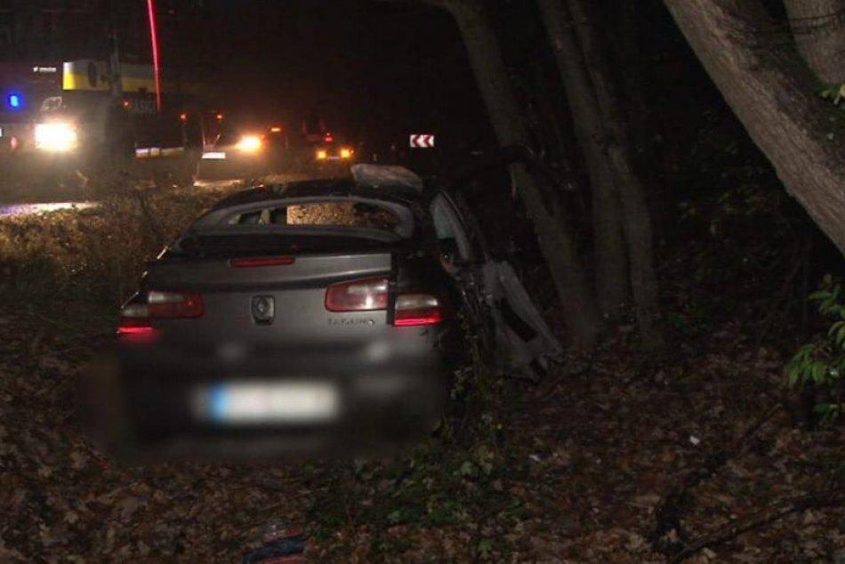 Nebezpečná nehoda: Auto dostalo šmyk, zastavil ho až náraz do stromu