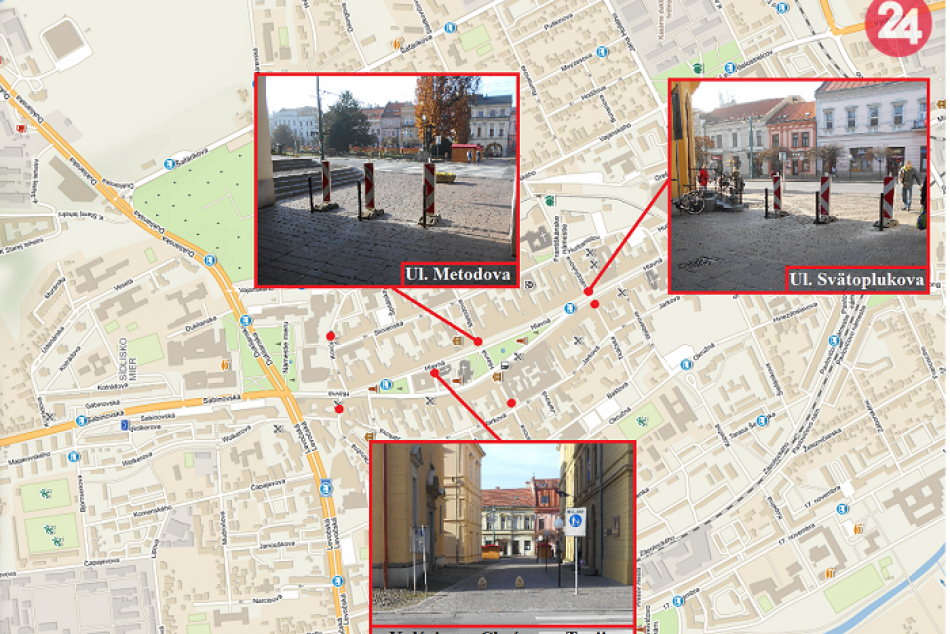 FOTO novinky v Prešove: Mesto osadilo na pešej zóne zábrany