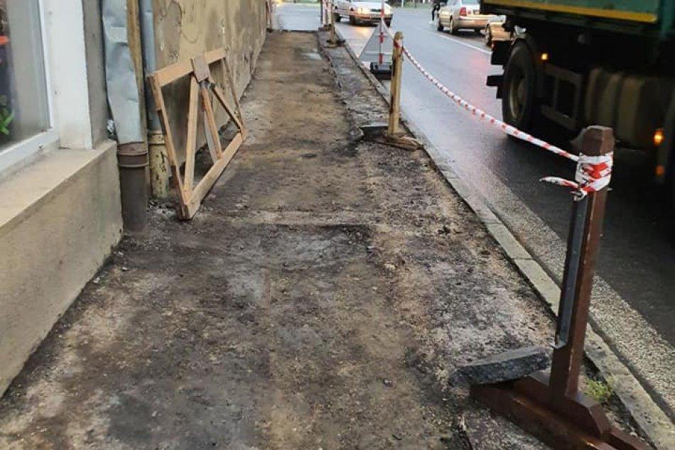 Oprava chodníka na Kuzmányho ulici