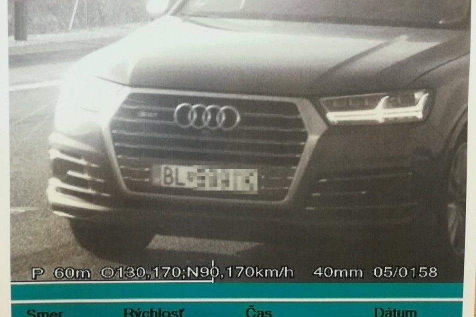 FOTO: Rekordérom vodič z Bratislavy, namerali mu 206 km/h. Pokutu vo výške 798 €