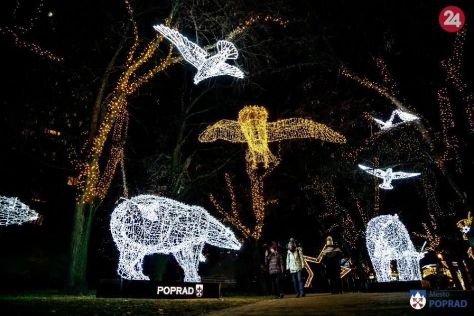 Poprad v žiari vianočných svetiel