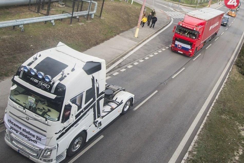 Štrajk Únie autodopravcov Slovenska (UNAS) v Bratislave