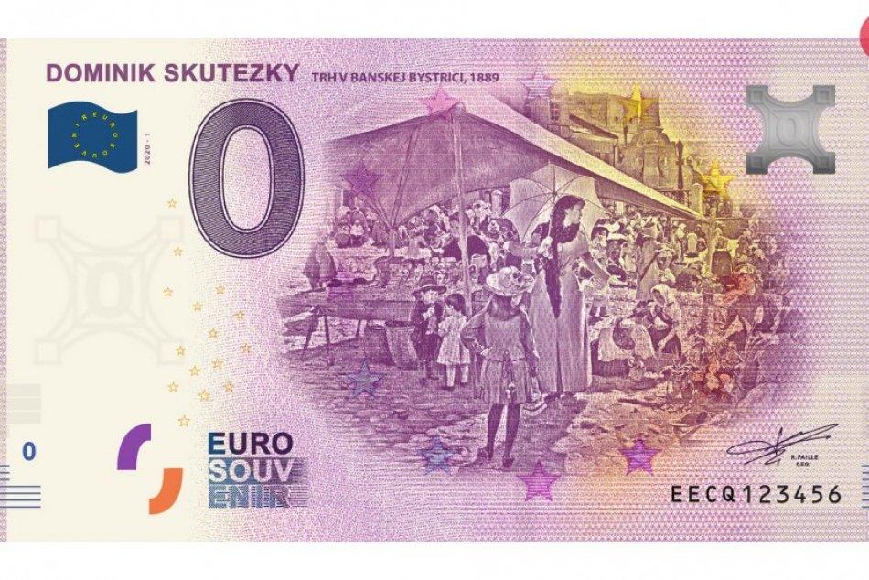 Euro Souvenir bankovka s najznámejším Skuteckého dielom Trh v Banskej Bystrici