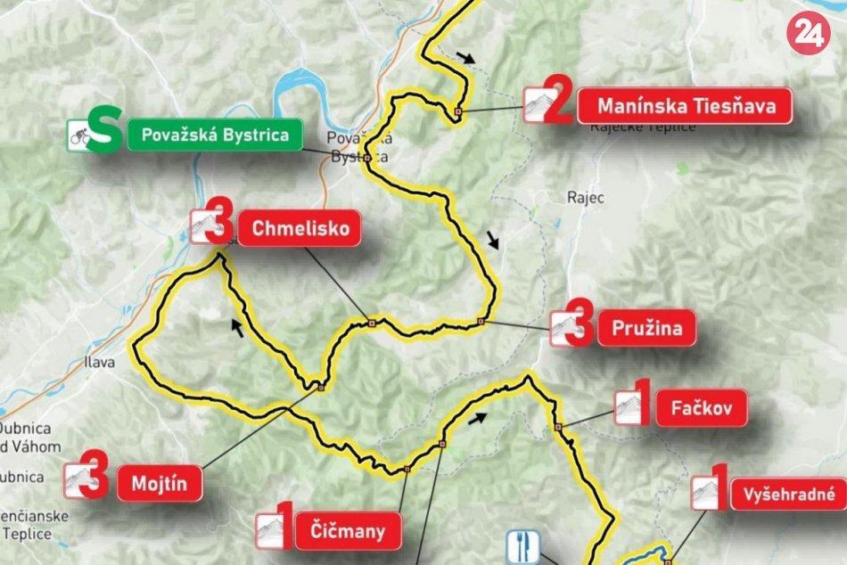 OBRAZOM: Predbežný plán etapy cez Považskú Bystricu a okolie na Okolo Slovenska