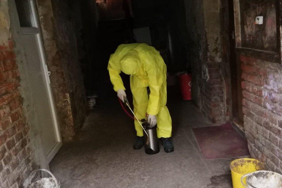V OBRAZOCH: Dezinfekcia bytového domu pod Pustým hradom