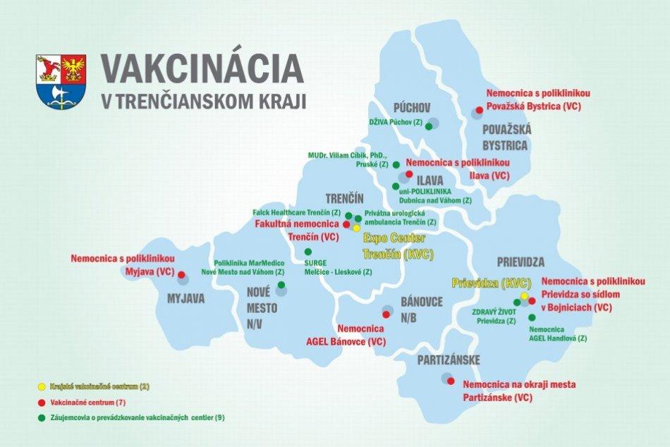 Vakcinačná mapa Trenčianskeho kraja