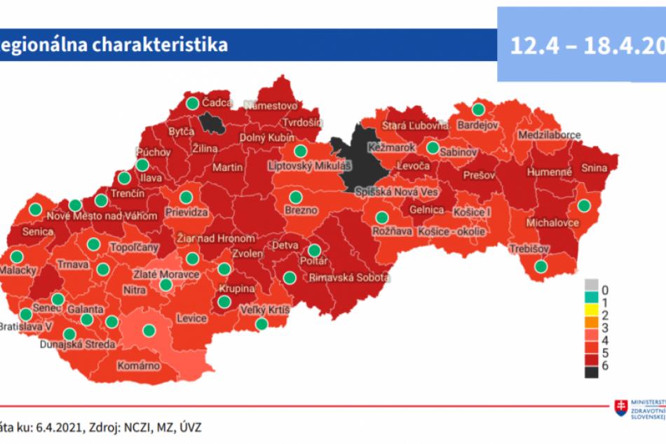 Mapa COVID automatu od 12. do 18. apríla 2021