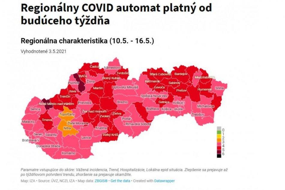 Národný a regionálny COVID automat platný od 10. mája