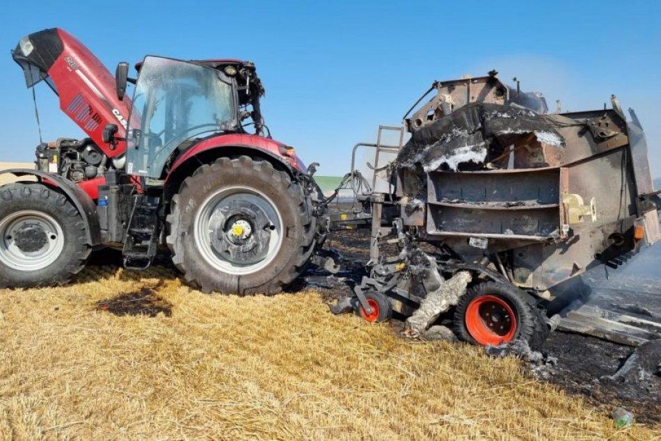 Požiar traktora na poli neďaleko Nitry